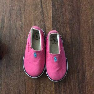 Size 6 Ralph Lauren pink slip ons